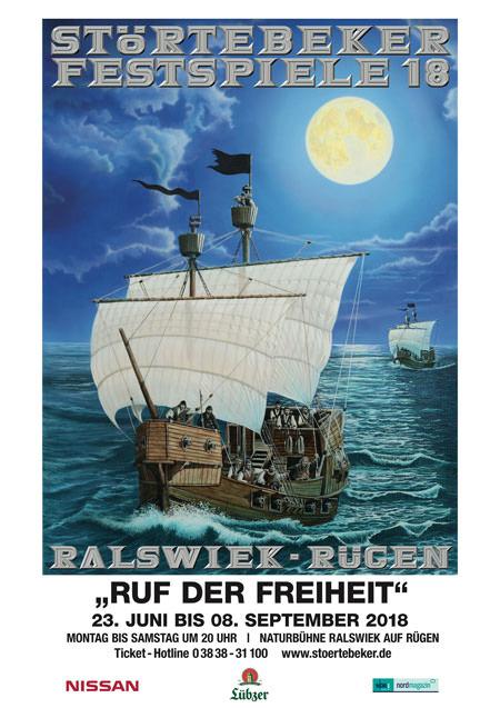 Plakat der Störtebeker Festspiele 2018 in Ralswiek auf Rügen – Ruf der Freiheit